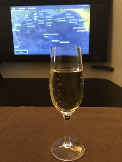 Japan Airlines First Class - Welcome Drink - Champagne