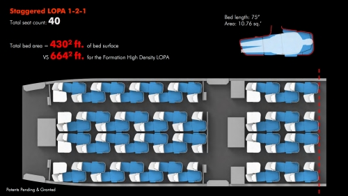 L'attuale staggered seat layout (Quello di Alitalia) [foto by: www.formationdesign.com]